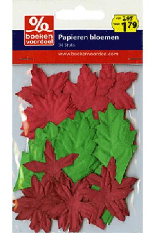 Papieren Bloemen Rood-Goud