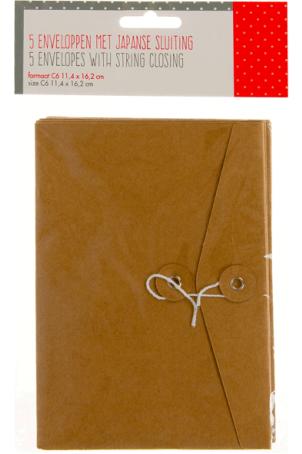 5 enveloppen met japanse sluiting
