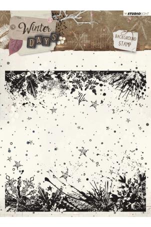 Winter days stempel 14x14cm nr 315 achtergrond sterren en takken