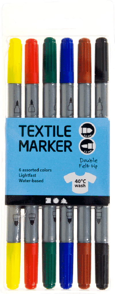Textielstiften, lijndikte: 2,3+3,6mm