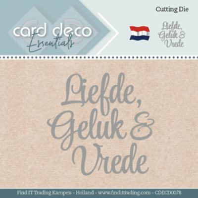 Snijmal liefde, geluk en vrede card deco essentials