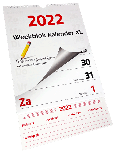Weekblok Kalender XL 2022