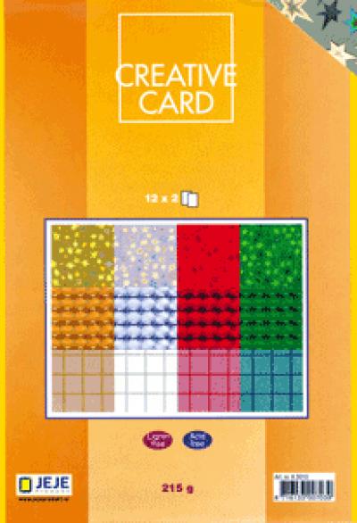 Creative Card papierblok 12x2 holografische kerst 14,5x20,5cm