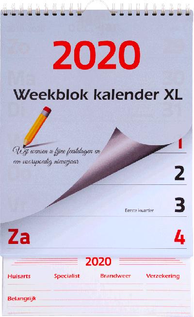 Kalender weekblok XL 2020