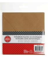 Kraft kaarten met envelop 10x vierkant
