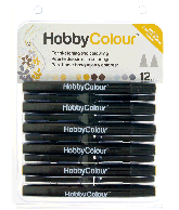 Hobbycolour 12 Permanente Dual Tip Markers
