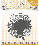Early spring snijmal spring flowers square label
