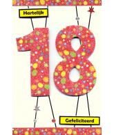 Kaart Jarig 18 jaar, luxe uitgestanste kaart met glitter
