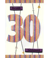 Kaart Jarig 30 jaar, luxe uitgestanste kaart met glitter