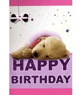Kaart Happy birthday puppy, luxe 3D wenskaart met glitter en folie