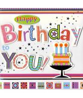 Kaart Happy Birthday You, luxe 3D wenskaart met glitter en folie