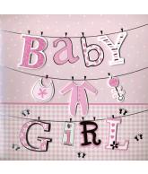 Kaart Baby Girl, luxe 3D wenskaart met folie