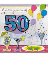 Kaart Hartelijk Gefeliciteerd 50 jaar, luxe 3D wenskaart met folie