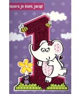 Kaart Hoera jij bent jarig 1 jaar, luxe uitgestanste kaart met glitter