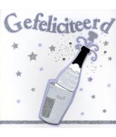 Kaart Gefeliciteerd Champagnefles met kurk, luxe uitgestanste kaart met glitter