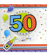 Kaart Happy Birthday 50 Abraham, luxe uitgestanste kaart met glitter en folie