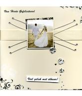 Kaart Huwelijk Van Harte Gefeliciteerd Veel geluk met elkaar!, luxe 3D wenskaart met lint