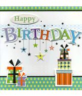 Kaart Happy Birthday Cadeautjes Luxe uitgestanste kaart met sterren en glitter