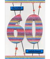 Kaart Hartelijk Gefeliciteerd 60 jaar, luxe uitgestanste kaart met glitter