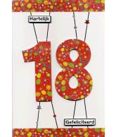 Kaart Hartelijk Gefeliciteerd 18, luxe uitgestanste kaart met glitter en folie