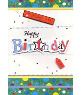 Kaart Wishing a very Happy Birthday to you, luxe uitgestanste kaart met glitter en folie