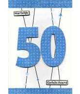 Kaart Hartelijk Gefeliciteerd 50 Luxe uitgestanste kaart met glitter en folie