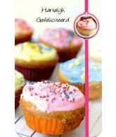 Kaart Hartelijk Gefeliciteerd Cupcakes 3D Wenskaart met glitter en folie