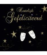 Kaart Hartelijk Gefeliciteerd 2 Wijnglazen Zwart, luxe wenskaart met glitter en folie