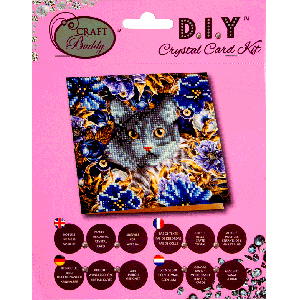 Crystal card kit A4 Cat & flowers 18x18
