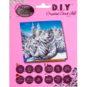 Crystal card kit white tigers 18x18 cm