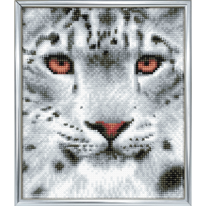 Silver photo frame crystal art snow leopard full