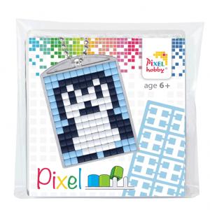 Pixelhobby medaillon sleutelhanger startset pinguin