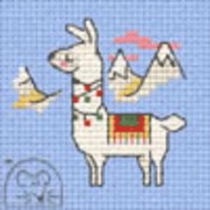 Borduurpakketje Mouseloft Decorated Llama 5x5cm
