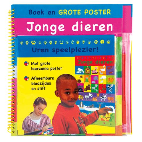 Boek en grote poster jonge dieren