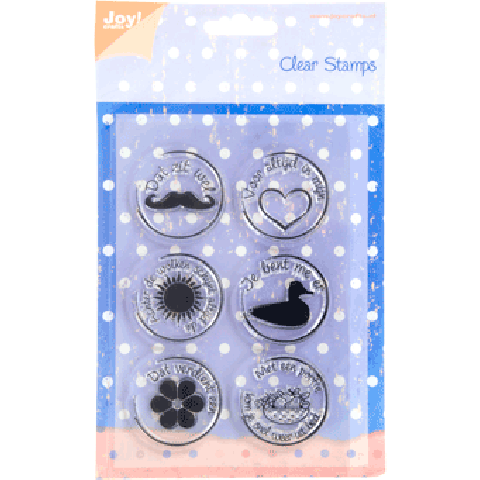 Joy Clearstamps teksten zegels snor