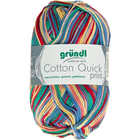 Cotton quick print rood-blauw-geel multicolor 50 gram