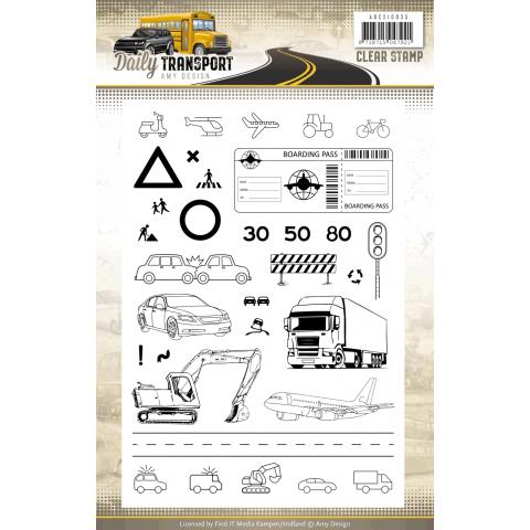 Amy Design daily transport clearstamps afbeeldingen