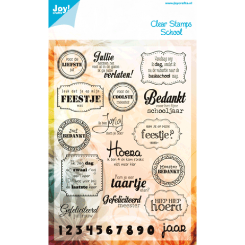 Joy Clearstamps School tekst voor de allerliefste juf