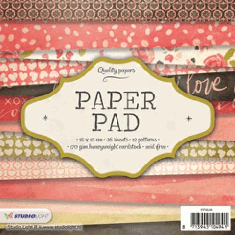 Paper pad 15x15cm 36vel 12 patronen nr. 86 oud roze