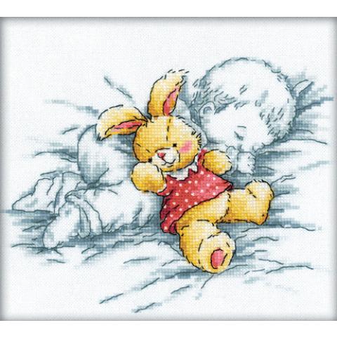 Borduurpakket baby with rabbit 20x18cm rto