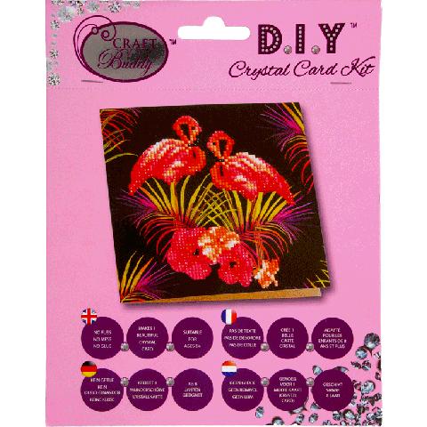 Crystal card kit flamingos 18x18cm