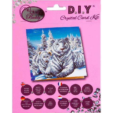 Crystal card kit white tigers 18x18 cm