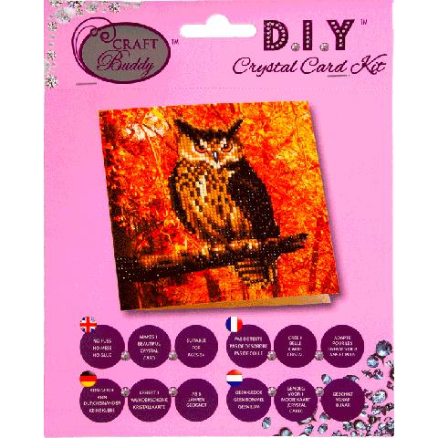 Crystal card kit autumn owl 18x18cm