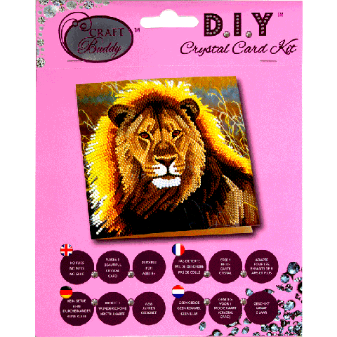 Crystal card kit a13 resting lion 18x18 cm
