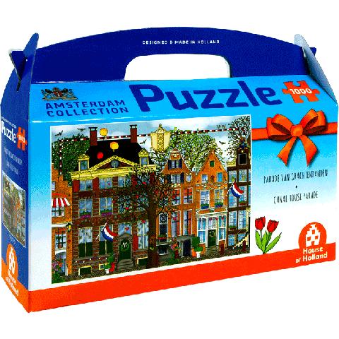 Guus van Eck puzzel Parade van Grachtenpanden 1000pcs