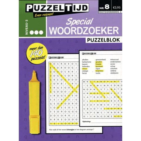 Puzzelblok woordzoeker special 3 punt nr. 8 puzzeltijd