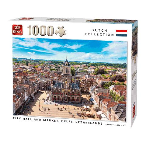 Puzzle city hall and market, delft 1000 pcs