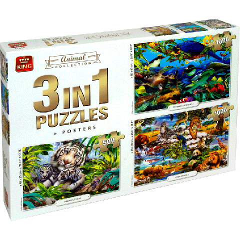 Legpuzzel 3in1 Animal collection 1000 stukjes