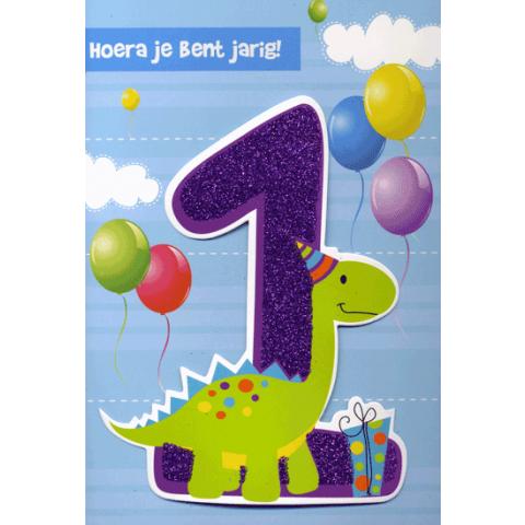 Kaart Hoera jij bent jarig 1 jaar Luxe uitgestanste kaart met glitter