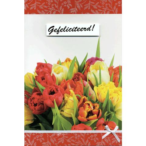 Kaart Gefeliciteerd! Tulpen Luxe uitgestanste kaart met lint en strik